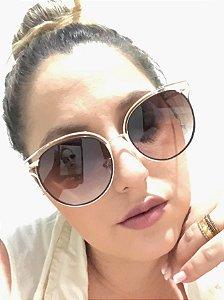 Óculos Solar Feminino Redondo Dourado