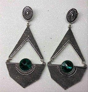 Brinco Prata + Pedraria Verde Esmeralda