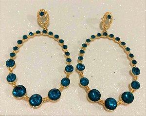 Brinco Argola Dourada Pedraria Azul