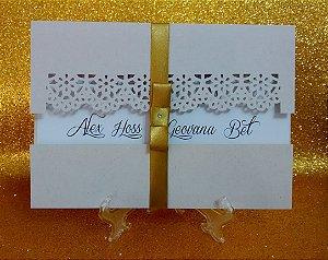 Convite casamento 14x20cm, envelope janela - 10 unid
