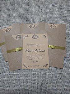 Convite 14,2x19,2cm, envelope luva texturizado