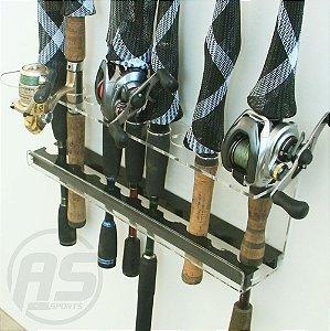 Organizador de varas de pesca | Para parede | Transparente e black | Modelo Trairão
