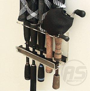 Organizador de varas de pesca | Para parede | Transparente e black | Modelo Traíra
