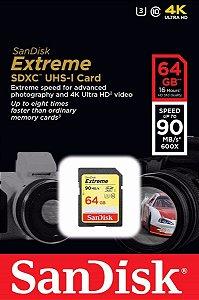 Cartão De Memória Sandisk Sdxc 64gb Extreme 90mb/s Classe 10 Uhs-i U3 V30