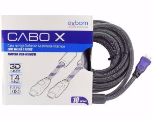 Cabo Hdmi 10m 1.4 Ethernet 10 Metros Full Hd 3d 1080p Exbom