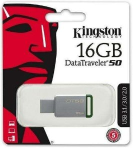 Pen Drive Usb 3.1 Kingston Dt50/16gb Datatraveler 50 16gb Metal Verde