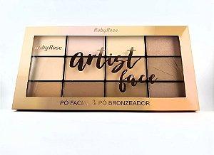 Paleta de Pó e Bronzer Artist Face - Ruby Rose