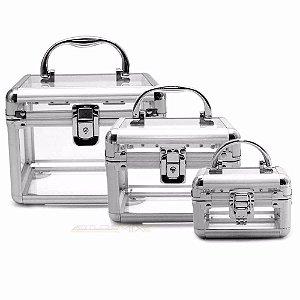 Kit Maleta De Alumínio Transparente Com 3 Peças
