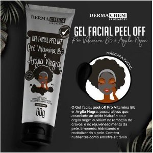 GEL FACIAL PEEL OFF PRO VITAMINA B5 E ARGILA NEGRA