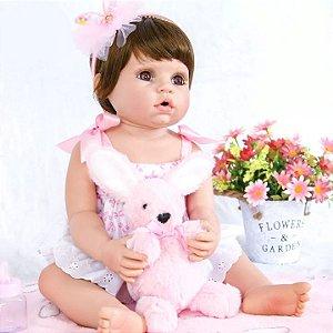 df4a3def73 Boneca Bebê Reborn Realista Morena Inteira de Silicone LAURA