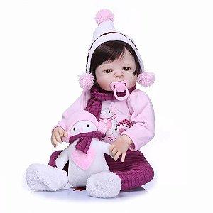 c91f73aa7 Boneca Bebê Reborn Menina Silicone Pode dar Banho Cabelo Preto ANA ...