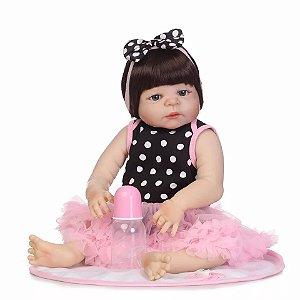 59e7a12e9 Boneca Bebê Reborn Menina Silicone 46 Centímetros Pode dar Banho CAROLINE