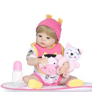 b4c787368 Boneca Bebê Reborn Loira Inteira de Silicone Pode dar Banho 46cm BIA