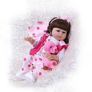 58d719ab4 Boneca Bebê Reborn Menina Molde Carmela Inteira de Silicone Pode dar Banho  CAMILY
