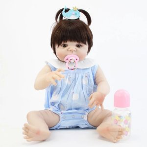 d4076a48c Boneca Bebê Reborn Menina Inteira de Silicone Pode dar Banho Cabelo ...