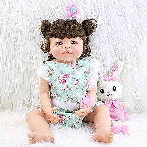 a105193b83 Boneca Bebê Reborn Menina Cabelo Castanho Cacheado Inteira de Silicone Pode  dar Banho ANA BEATRIZ