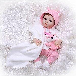 7fc4f3b68 Boneca Bebê Reborn Menina Inteira de Silicone Pode dar Banho Cabelo fio a  fio ANA CAROLINA