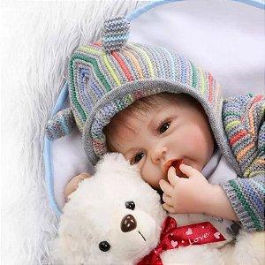 b4b37e45b Bebê Reborn Menino Recém-Nascido Realista Cabelo Fio a Fio GIOVANI