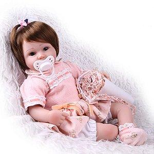 e984c7d70 Boneca Bebê Reborn Menina Silicone Macio Realista ANA LARA