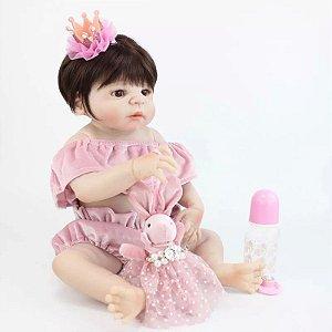 b19b7e86f Bebê Reborn Menina Pode dar Banho Cabelo Castanho Roupa Luxo Silicone  Enxoval ANALISE