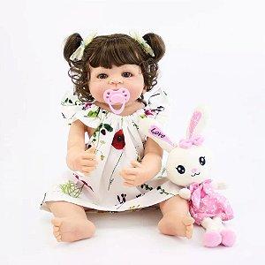855906418 Bebê Reborn Menina Inteira de Silicone Pode dar Banho Presente de Páscoa À  Pronta Entrega KELLY