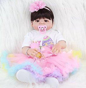 6673c0e7a Bebê Reborn Menina Inteira de Silicone Pode dar Banho Vestido de Tule  Sapatinho Presente Feliz Páscoa