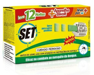 Inseticida Elétrico Set Inset Conj. 12 Pastilhas + Vaporizador Bivolt 12 unidades