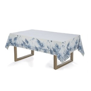 Toalha de Mesa Retangular Zaida 160x270cm 8 lugares Karsten Branco e Azul