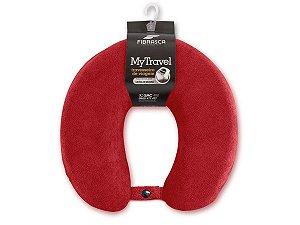 Travesseiro de Pescoço para Viagem My Travel Fibra Vermelho Lavável em Máquina Fibrasca