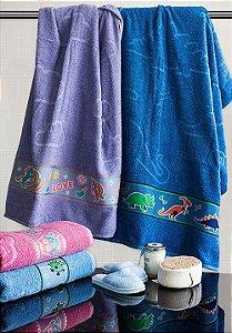 Toalha de Banho Infantil Menina Unicórnio Lilás Camesa 70x130cm