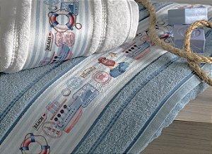 Toalha de Banho Infantil Marujo Azul Karsten 67 x 135 cm