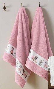 Toalha de Rosto Infantil Rosa Menina Mary Jane Karsten 49x70cm