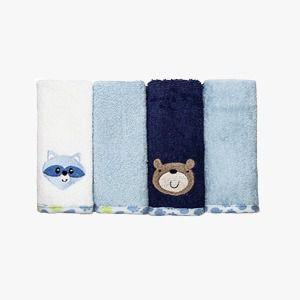 Kit toalha de boca Baby Camesa 4 peças Azul