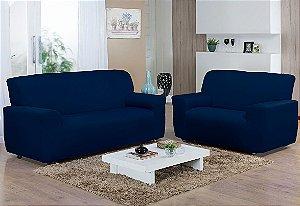 Capa de sofá kit 2 e 3 lugares Malha Gel Marinho Camesa