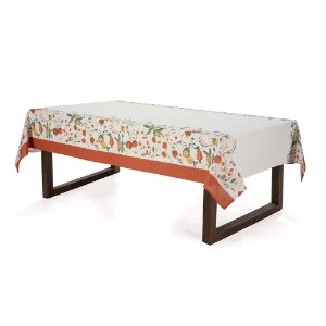 Toalha de Mesa Retangular Karsten Floralice Bege 140x250 8 Lugares