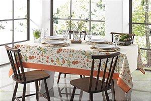 Toalha de Mesa Redonda Karsten Floralice Bege 160x0 4 Lugares