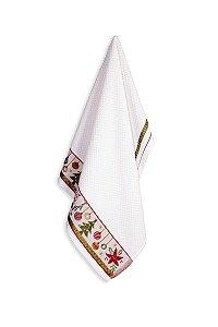 Pano de Copa Feliz Natal Karsten Atoalhado Branco 46x65cm