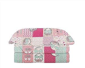 Colcha Matelasse Solteiro Infantil Patchwork Kitty 160x230 Camesa