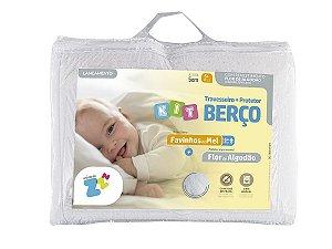 Kit de Berço Travesseiro Favinhos 6+ Fronha 30X40+Protetor De Colchão Impermeável 70X150 Fibrasca