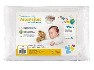 Travesseiro NASA baby Anti Sufocante Recém Nascido 0+ p/ fronha 30x40 com tecido percal 180fios Fibrasca