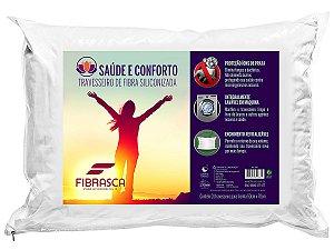 Travesseiro íons de Prata Antiácaro Saúde e Conforto Fibra Integralmente Lavável p/fronha 50x70 Fibrasca