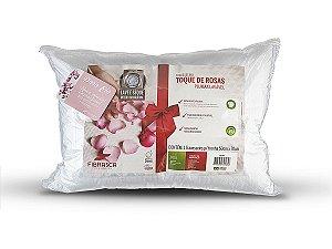 Travesseiro Toque de Rosas Fibra Plumax capa íons de prata antibactericida 50x70 Fibrasca