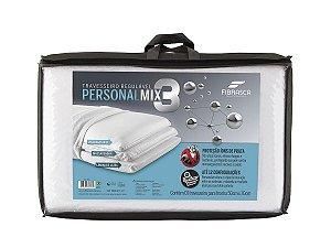 Travesseiro Regulável Personal mix 3 com capa íons de prata antibacteria Fibrasca