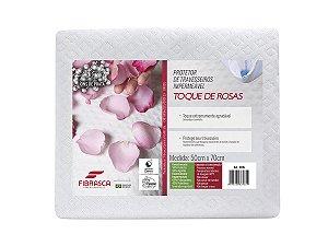 Capa de Travesseiro Impermeável Toque de Rosas com Íons de Prata Antiácaro 50x70 Fibrasca