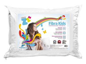 Travesseiro Fibra Lavável Kids Com Íons De Prata Anti Ácaro Fibrasca