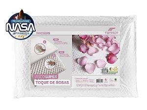 Travesseiro Nasa Alto ViscoSuper Toque de Rosas 50x70cm Fibrasca