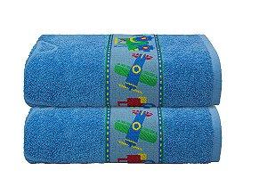 Toalha de Banho Infantil Menino Carro Azul Camesa 70x130cm