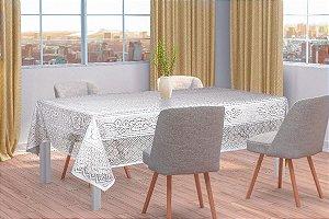 Toalha de Mesa Retangular Renda Branca Floral Interlar 6 lugares 150x220cm