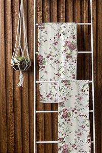 Toalha de Banho Fitness Floral Pérola Rosa Camesa 65x120cm