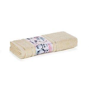 Toalha de Banho Infantil Menina Lia Panda Amarela Karsten 67x135cm